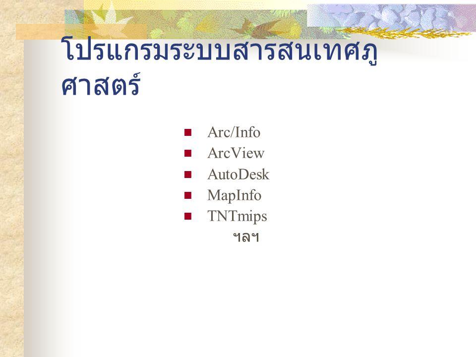 โปรแกรมระบบสารสนเทศภู ศาสตร์ Arc/Info ArcView AutoDesk MapInfo TNTmips ฯลฯ