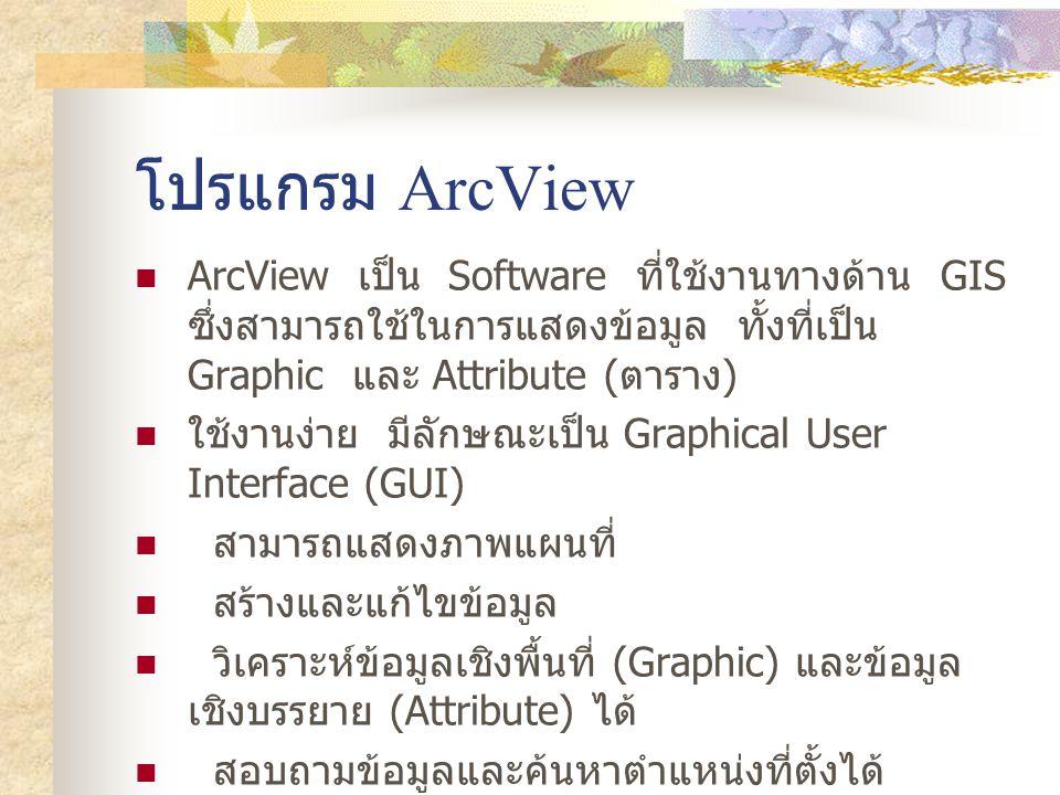 โปรแกรม ArcView ArcView เป็น Software ที่ใช้งานทางด้าน GIS ซึ่งสามารถใช้ในการแสดงข้อมูล ทั้งที่เป็น Graphic และ Attribute ( ตาราง ) ใช้งานง่าย มีลักษณะเป็น Graphical User Interface (GUI) สามารถแสดงภาพแผนที่ สร้างและแก้ไขข้อมูล วิเคราะห์ข้อมูลเชิงพื้นที่ (Graphic) และข้อมูล เชิงบรรยาย (Attribute) ได้ สอบถามข้อมูลและค้นหาตำแหน่งที่ตั้งได้ สามารถดึงข้อมูลจากฐานข้อมูลภายนอกมาใช้ได้