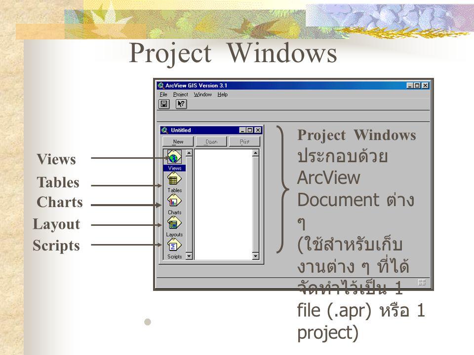 Project Windows Project Windows ประกอบด้วย ArcView Document ต่าง ๆ ( ใช้สำหรับเก็บ งานต่าง ๆ ที่ได้ จัดทำไว้เป็น 1 file (.apr) หรือ 1 project) Views Tables Charts Layout Scripts