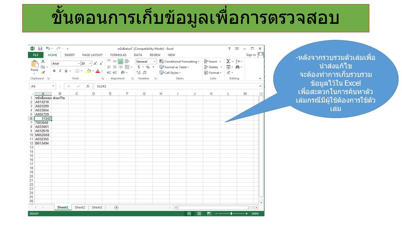 - หลังจากรวบรวมตัวเล่มเพื่อ นำส่งแก้ไข จะต้องทำการเก็บรวบรวม ข้อมูลไว้ใน Excel เพื่อสะดวกในการค้นหาตัว เล่มกรณีมีผู้ใช้ต้องการใช้ตัว เล่ม ขั้นตอนการเก็บข้อมูลเพื่อการตรวจสอบ