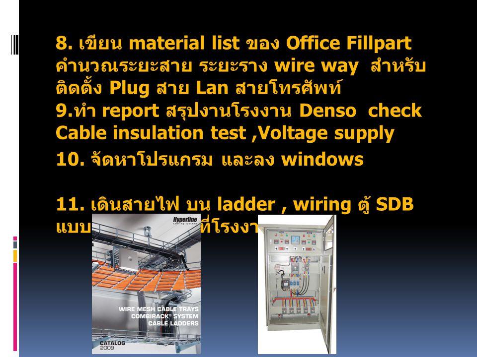 8. เขียน material list ของ Office Fillpart คำนวณระยะสาย ระยะราง wire way สำหรับ ติดตั้ง Plug สาย Lan สายโทรศัพท์ 9. ทำ report สรุปงานโรงงาน Denso chec