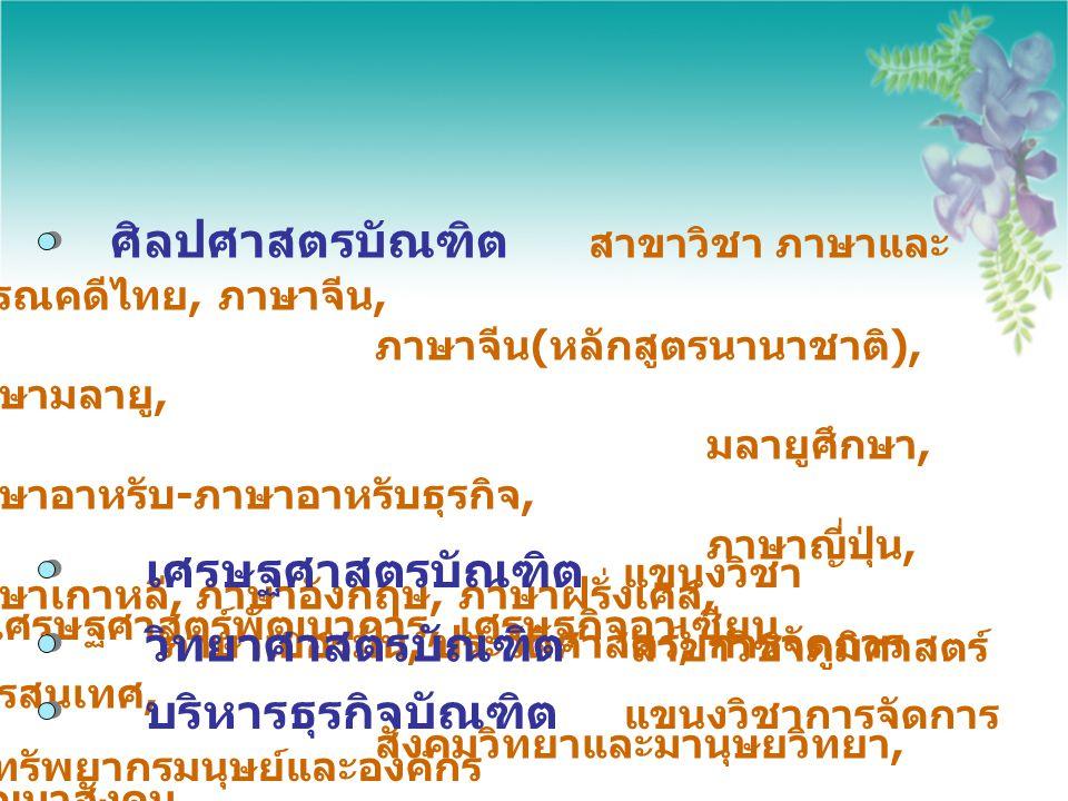 ศิลปศาสตรบัณฑิต สาขาวิชา ภาษาและ วรรณคดีไทย, ภาษาจีน, ภาษาจีน ( หลักสูตรนานาชาติ ), ภาษามลายู, มลายูศึกษา, ภาษาอาหรับ - ภาษาอาหรับธุรกิจ, ภาษาญี่ปุ่น,