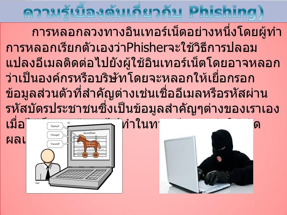 การหลอกลวงทางอินเทอร์เน็ตอย่างหนึ่งโดยผู้ทำ การหลอกเรียกตัวเองว่า Phisher จะใช้วิธีการปลอม แปลงอีเมลติดต่อไปยังผู้ใช้อินเทอร์เน็ตโดยอาจหลอก ว่าเป็นองค์กรหรือบริษัทโดยจะหลอกให้เยื่อกรอก ข้อมูลส่วนตัวที่สำคัญต่างเช่นเชื่ออีเมลหรือรหัสผ่าน รหัสบัตรประชาชนซึ่งเป็นข้อมูลสำคัญๆต่างของเราเอง เมื่อได้ก็จะนำข้อมูลไปทำในทางเสียหายก่อให้เกิด ผลเสียต่อตัวเราเอง