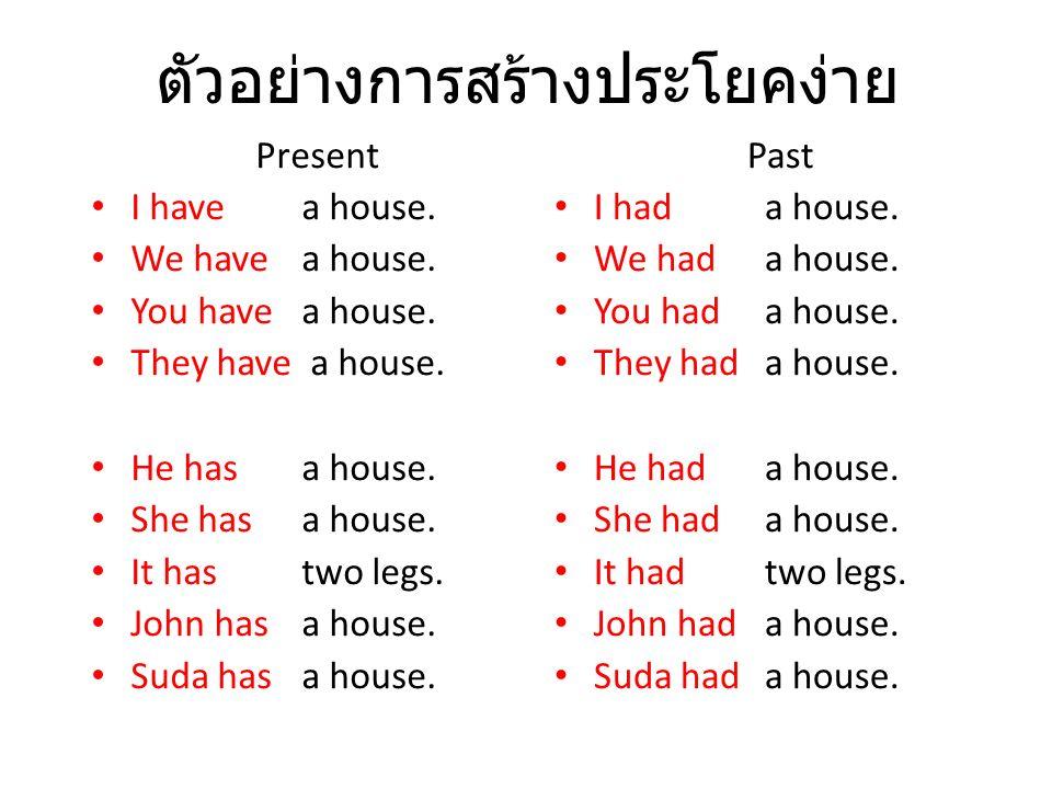 ตัวอย่างการสร้างประโยคง่าย Past I had a house. We had a house. You had a house. They had a house. He had a house. She had a house. It had two legs. Jo