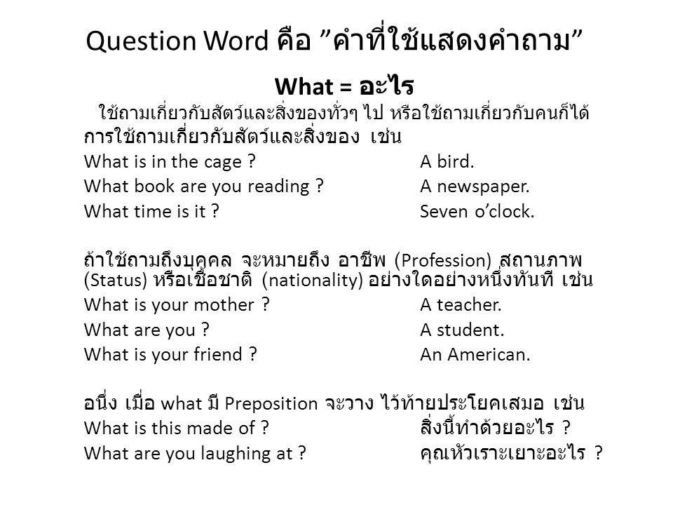 """Question Word คือ """" คำที่ใช้แสดงคำถาม """" What = อะไร ใช้ถามเกี่ยวกับสัตว์และสิ่งของทั่วๆ ไป หรือใช้ถามเกี่ยวกับคนก็ได้ การใช้ถามเกี่ยวกับสัตว์และสิ่งขอ"""