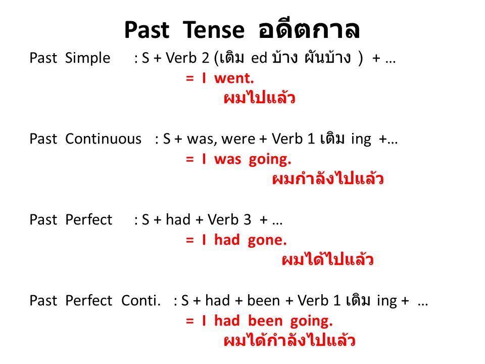 Past Tense อดีตกาล Past Simple : S + Verb 2 ( เติม ed บ้าง ผันบ้าง ) + … = I went. ผมไปแล้ว Past Continuous : S + was, were + Verb 1 เติม ing +… = I w