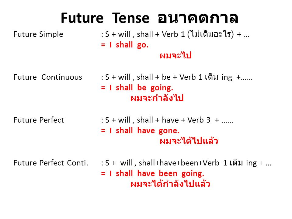 Future Tense อนาคตกาล Future Simple : S + will, shall + Verb 1 ( ไม่เติมอะไร ) + … = I shall go. ผมจะไป Future Continuous : S + will, shall + be + Ver