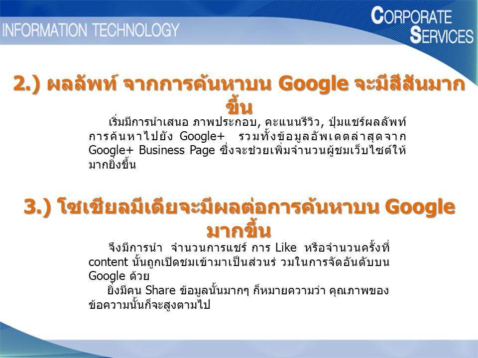 เริ่มมีการนำเสนอ ภาพประกอบ, คะแนนรีวิว, ปุ่มแชร์ผลลัพท์ การค้นหาไปยัง Google+ รวมทั้งข้อมูลอัพเดตล่าสุดจาก Google+ Business Page ซึ่งจะช่วยเพิ่มจำนวนผ