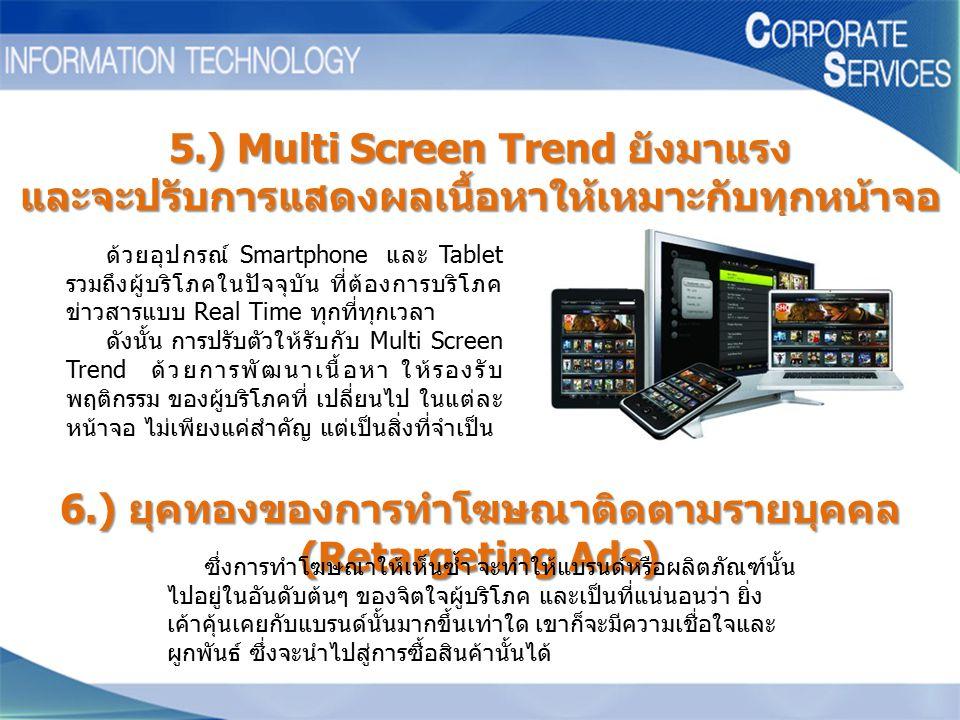 5.) Multi Screen Trend ยังมาแรง และจะปรับการแสดงผลเนื้อหาให้เหมาะกับทุกหน้าจอ ด้วยอุปกรณ์ Smartphone และ Tablet รวมถึงผู้บริโภคในปัจจุบัน ที่ต้องการบร