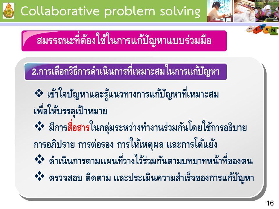 2.การเลือกวิธีการดำเนินการที่เหมาะสมในการแก้ปัญหา 16 Collaborative problem solving สมรรถนะที่ต้องใช้ในการแก้ปัญหาแบบร่วมมือ  เข้าใจปัญหาและรู้แนวทางการแก้ปัญหาที่เหมาะสม เพื่อให้บรรลุเป้าหมาย  มีการสื่อสารในกลุ่มระหว่างทำงานร่วมกันโดยใช้การอธิบาย การอภิปราย การต่อรอง การให้เหตุผล และการโต้แย้ง  ดำเนินการตามแผนที่วางไว้ร่วมกันตามบทบาทหน้าที่ของตน  ตรวจสอบ ติดตาม และประเมินความสำเร็จของการแก้ปัญหา