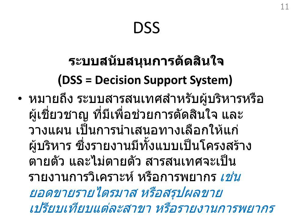 DSS ระบบสนับสนุนการตัดสินใจ (DSS = Decision Support System) หมายถึง ระบบสารสนเทศสำหรับผู้บริหารหรือ ผู้เชี่ยวชาญ ที่มีเพื่อช่วยการตัดสินใจ และ วางแผน