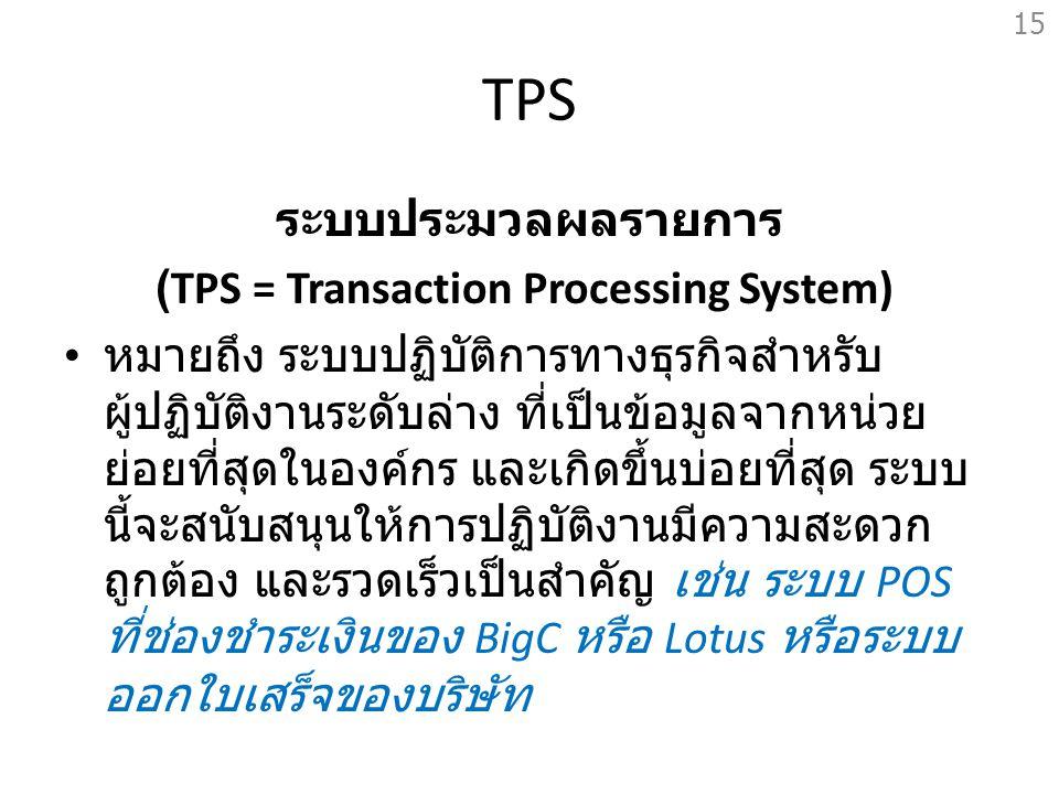TPS ระบบประมวลผลรายการ (TPS = Transaction Processing System) หมายถึง ระบบปฏิบัติการทางธุรกิจสำหรับ ผู้ปฏิบัติงานระดับล่าง ที่เป็นข้อมูลจากหน่วย ย่อยที