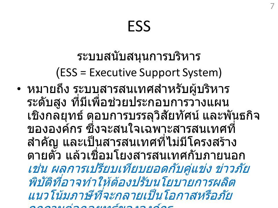 ESS ระบบสนับสนุนการบริหาร (ESS = Executive Support System) หมายถึง ระบบสารสนเทศสำหรับผู้บริหาร ระดับสูง ที่มีเพื่อช่วยประกอบการวางแผน เชิงกลยุทธ์ ตอบก