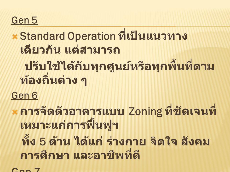 Gen 5  Standard Operation ที่เป็นแนวทาง เดียวกัน แต่สามารถ ปรับใช้ได้กับทุกศูนย์หรือทุกพื้นที่ตาม ท้องถิ่นต่าง ๆ Gen 6  การจัดตัวอาคารแบบ Zoning ที่