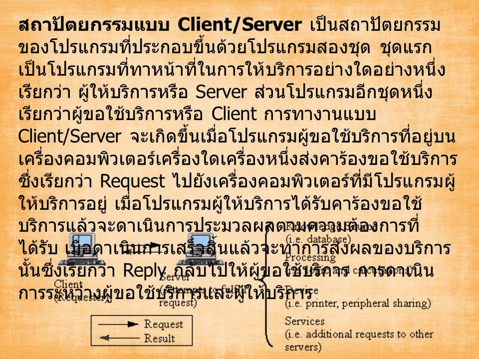 สถาปัตยกรรมแบบ Client/Server เป็นสถาปัตยกรรม ของโปรแกรมที่ประกอบขึ้นด้วยโปรแกรมสองชุด ชุดแรก เป็นโปรแกรมที่ทาหน้าที่ในการให้บริการอย่างใดอย่างหนึ่ง เรียกว่า ผู้ให้บริการหรือ Server ส่วนโปรแกรมอีกชุดหนึ่ง เรียกว่าผู้ขอใช้บริการหรือ Client การทางานแบบ Client/Server จะเกิดขึ้นเมื่อโปรแกรมผู้ขอใช้บริการที่อยู่บน เครื่องคอมพิวเตอร์เครื่องใดเครื่องหนึ่งส่งคาร้องขอใช้บริการ ซึ่งเรียกว่า Request ไปยังเครื่องคอมพิวเตอร์ที่มีโปรแกรมผู้ ให้บริการอยู่ เมื่อโปรแกรมผู้ให้บริการได้รับคาร้องขอใช้ บริการแล้วจะดาเนินการประมวลผลตามความต้องการที่ ได้รับ เมื่อดาเนินการเสร็จสิ้นแล้วจะทาการส่งผลของบริการ นั้นซึ่งเรียกว่า Reply กลับไปให้ผู้ขอใช้บริการ การดาเนิน การระหว่างผู้ขอใช้บริการและผู้ให้บริการ