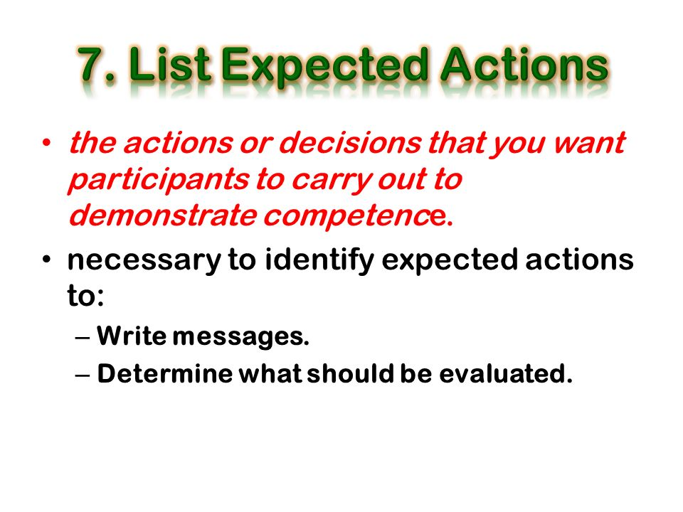 the actions or decisions that you want participants to carry out to demonstrate competence. necessary to identify expected actions to: – Write message