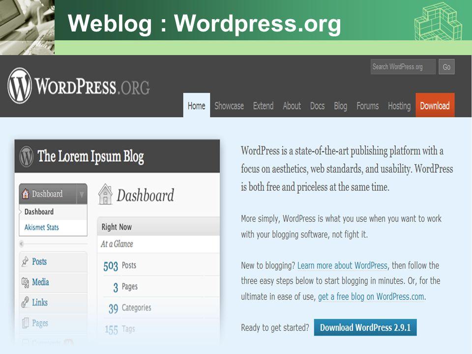 Weblog : Wordpress.org