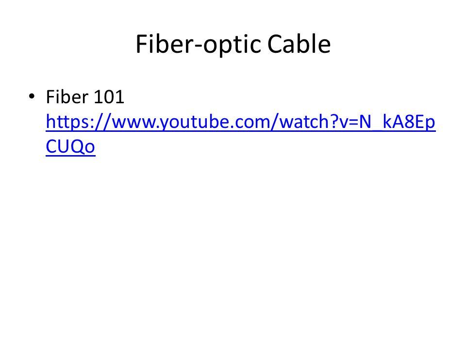 Fiber-optic Cable Fiber 101 https://www.youtube.com/watch?v=N_kA8Ep CUQo https://www.youtube.com/watch?v=N_kA8Ep CUQo