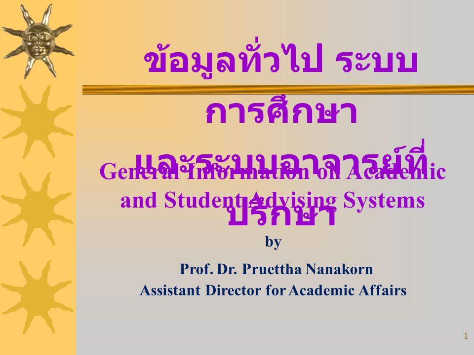 1 ข้อมูลทั่วไป ระบบ การศึกษา และระบบอาจารย์ที่ ปรึกษา by Prof.