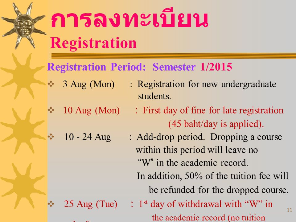 11 การลงทะเบียน Registration Registration Period: Semester 1/2015  3 Aug (Mon) : Registration for new undergraduate students.  10 Aug (Mon) : First
