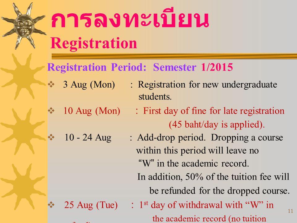 11 การลงทะเบียน Registration Registration Period: Semester 1/2015  3 Aug (Mon) : Registration for new undergraduate students.