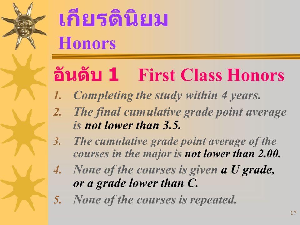 17 เกียรตินิยม Honors 1.Completing the study within 4 years.