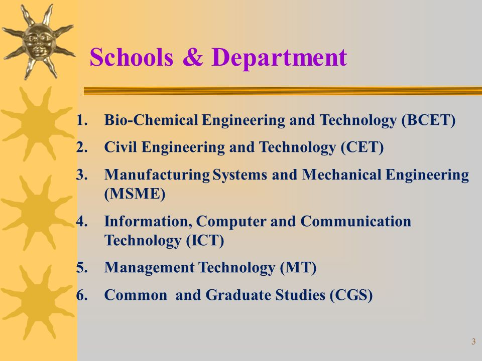 3 Schools & Department 1.Bio-Chemical Engineering and Technology (BCET) 2.Civil Engineering and Technology (CET) 3.Manufacturing Systems and Mechanical Engineering (MSME) 4.Information, Computer and Communication Technology (ICT) 5.Management Technology (MT) 6.Common and Graduate Studies (CGS)