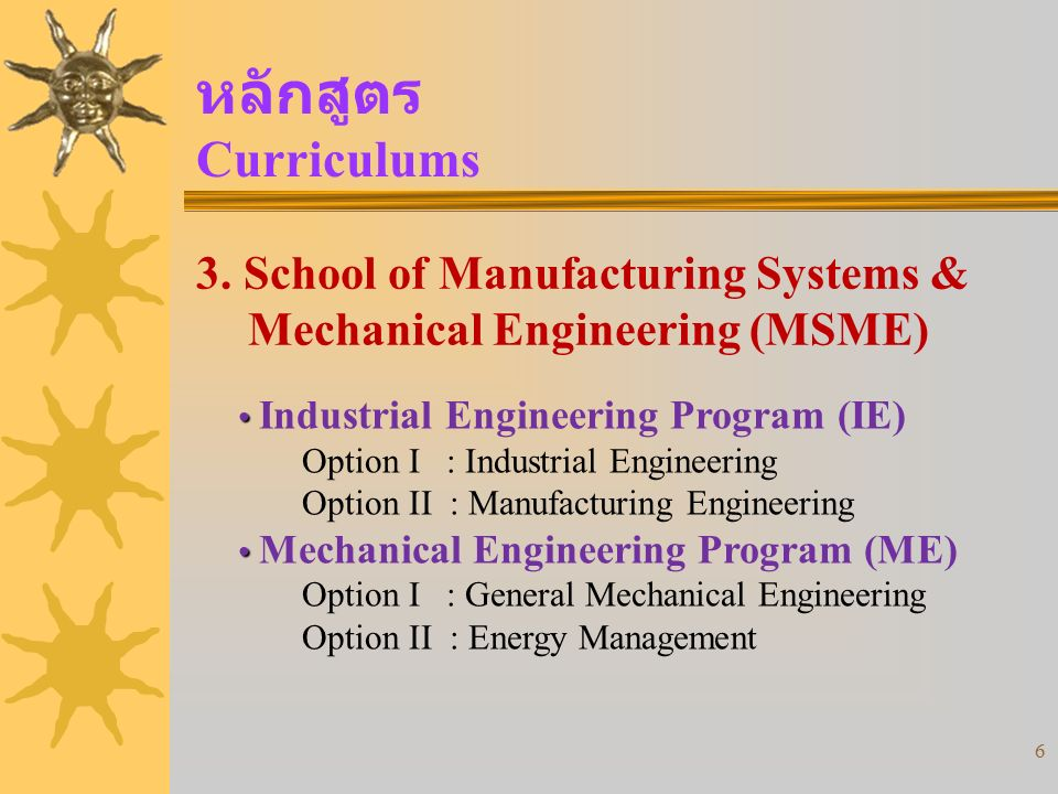 6 3. School of Manufacturing Systems & Mechanical Engineering (MSME) Industrial Engineering Program (IE) Option I : Industrial Engineering Option II :
