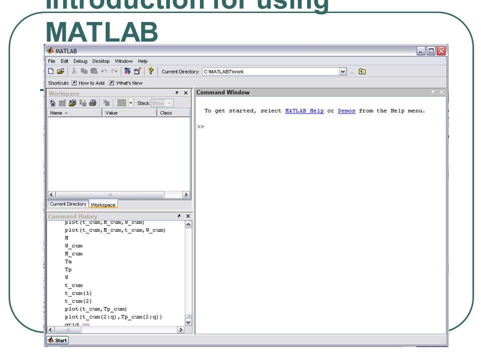 Introduction for using MATLAB