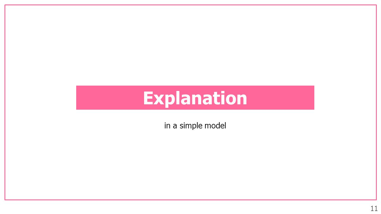 11 Explanation in a simple model
