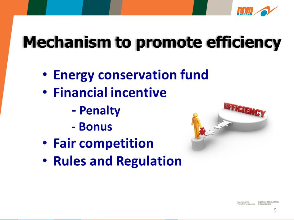Mechanism to promote efficiency Energy conservation fund Financial incentive - Penalty - Bonus Fair competition Rules and Regulation 5