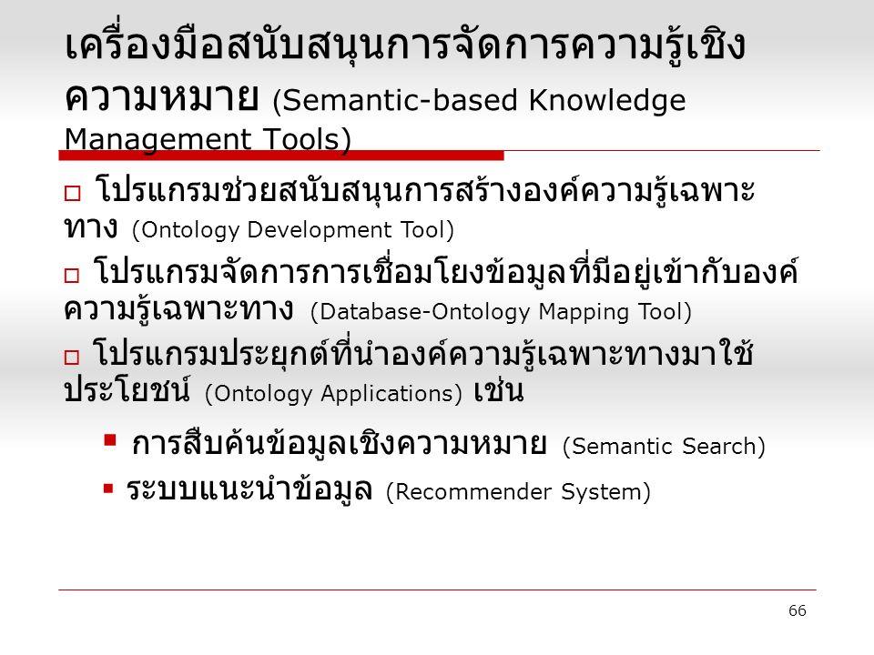  โปรแกรมช่วยสนับสนุนการสร้างองค์ความรู้เฉพาะ ทาง (Ontology Development Tool)  โปรแกรมจัดการการเชื่อมโยงข้อมูลที่มีอยู่เข้ากับองค์ ความรู้เฉพาะทาง (Database-Ontology Mapping Tool)  โปรแกรมประยุกต์ที่นำองค์ความรู้เฉพาะทางมาใช้ ประโยชน์ (Ontology Applications) เช่น  การสืบค้นข้อมูลเชิงความหมาย (Semantic Search)  ระบบแนะนำข้อมูล (Recommender System) เครื่องมือสนับสนุนการจัดการความรู้เชิง ความหมาย (Semantic-based Knowledge Management Tools) 66