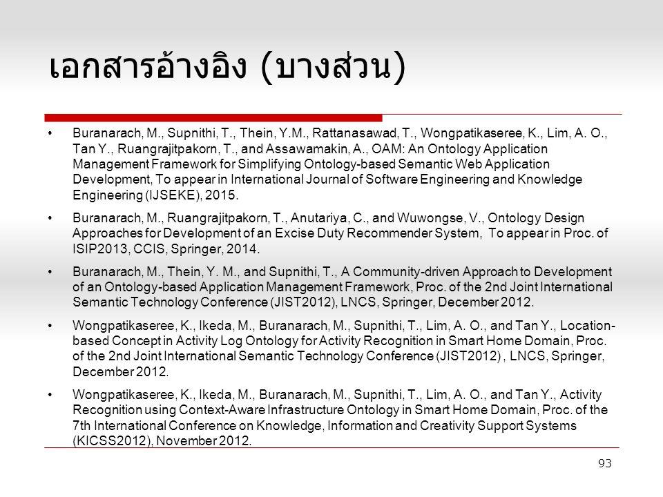 เอกสารอ้างอิง ( บางส่วน ) Buranarach, M., Supnithi, T., Thein, Y.M., Rattanasawad, T., Wongpatikaseree, K., Lim, A.