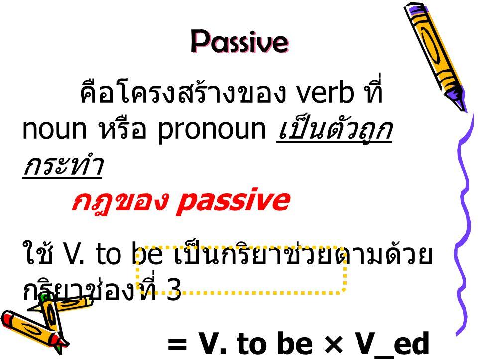 การเปลี่ยนประโยคจาก active เป็น passive 1.