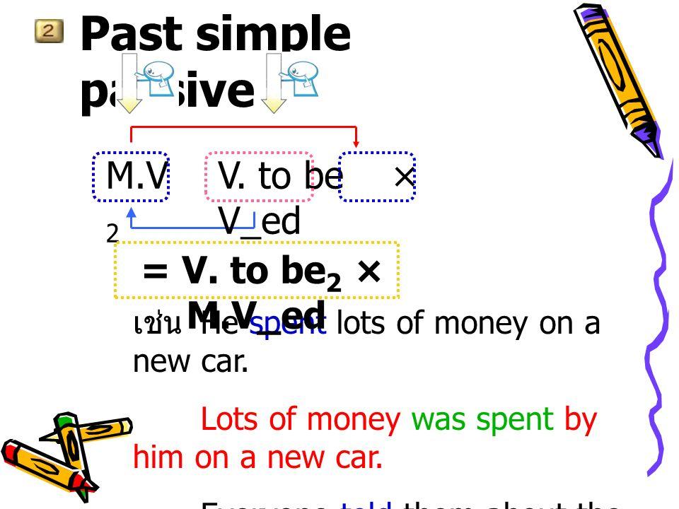 นอกจากนี้ยังมีการใช้ V_ed ซึ่งเรียกว่า past participle ทำหน้าที่เป็น adjective ซึ่ง ให้ความหมายเป็น passive หรือ linking verb เป็น finite verb adjective กลุ่มนี้เรียกว่า stative passive ได้แก่ 1.