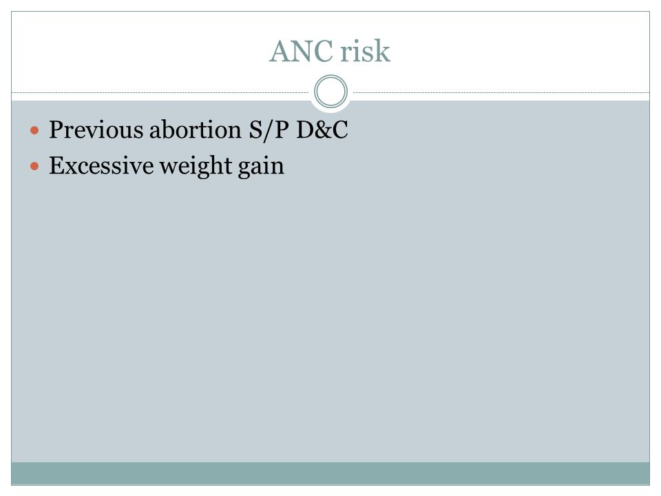 ANC risk Previous abortion S/P D&C Excessive weight gain