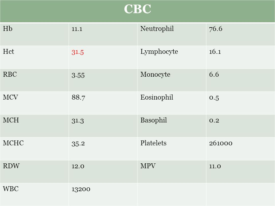 CBC Hb11.1Neutrophil76.6 Hct31.5Lymphocyte16.1 RBC3.55Monocyte6.6 MCV88.7Eosinophil0.5 MCH31.3Basophil0.2 MCHC35.2Platelets261000 RDW12.0MPV11.0 WBC13200