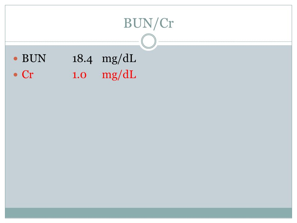 BUN/Cr BUN 18.4mg/dL Cr1.0mg/dL