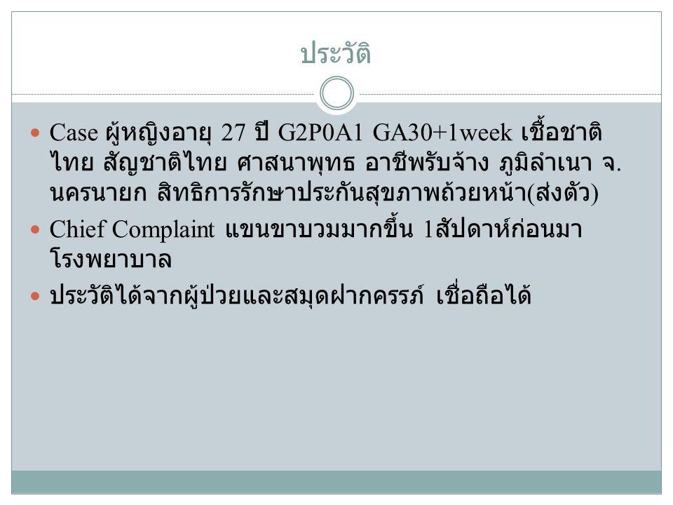 ประวัติ Case ผู้หญิงอายุ 27 ปี G2P0A1 GA30+1week เชื้อชาติ ไทย สัญชาติไทย ศาสนาพุทธ อาชีพรับจ้าง ภูมิลำเนา จ. นครนายก สิทธิการรักษาประกันสุขภาพถ้วยหน้