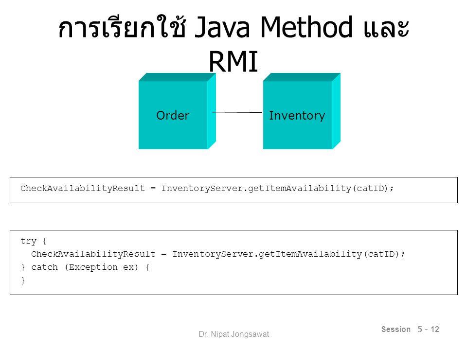 การเรียกใช้ Java Method และ RMI CheckAvailabilityResult = InventoryServer.getItemAvailability(catID); try { CheckAvailabilityResult = InventoryServer.getItemAvailability(catID); } catch (Exception ex) { } Session 5 - 12 OrderInventory Dr.
