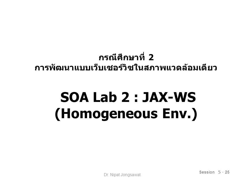 กรณีศึกษาที่ 2 การพัฒนาแบบเว็บเซอร์วิซในสภาพแวดล้อมเดียว SOA Lab 2 : JAX-WS (Homogeneous Env.) Session 5 - 25 Dr.