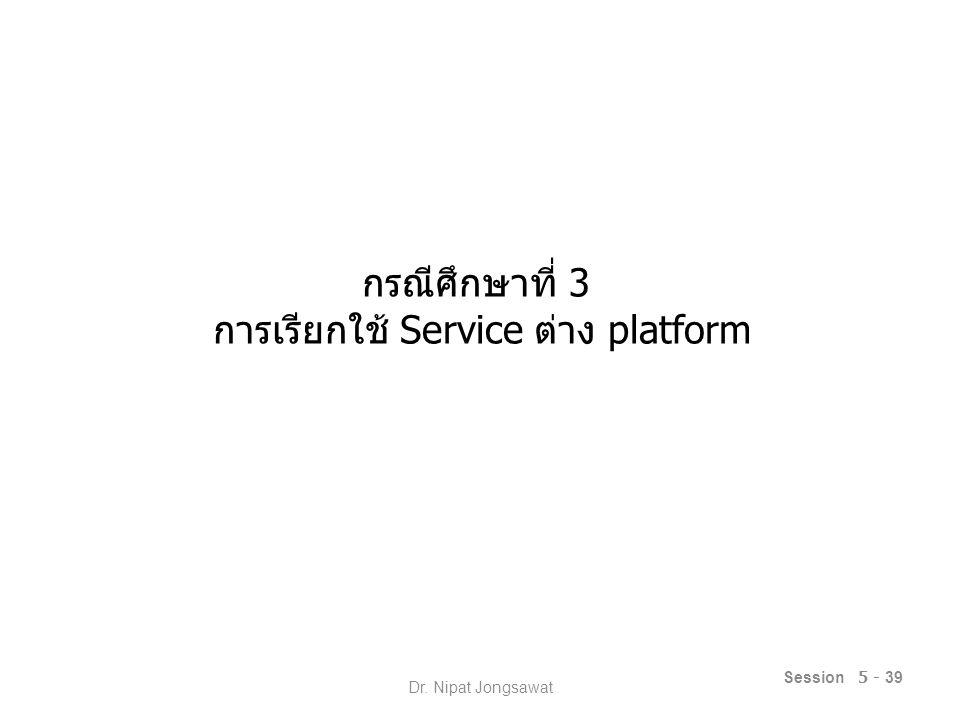 กรณีศึกษาที่ 3 การเรียกใช้ Service ต่าง platform Session 5 - 39 Dr. Nipat Jongsawat