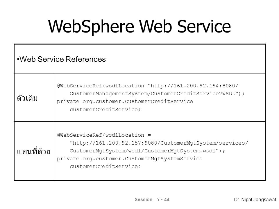 WebSphere Web Service Web Service References ตัวเดิม @WebServiceRef(wsdlLocation=