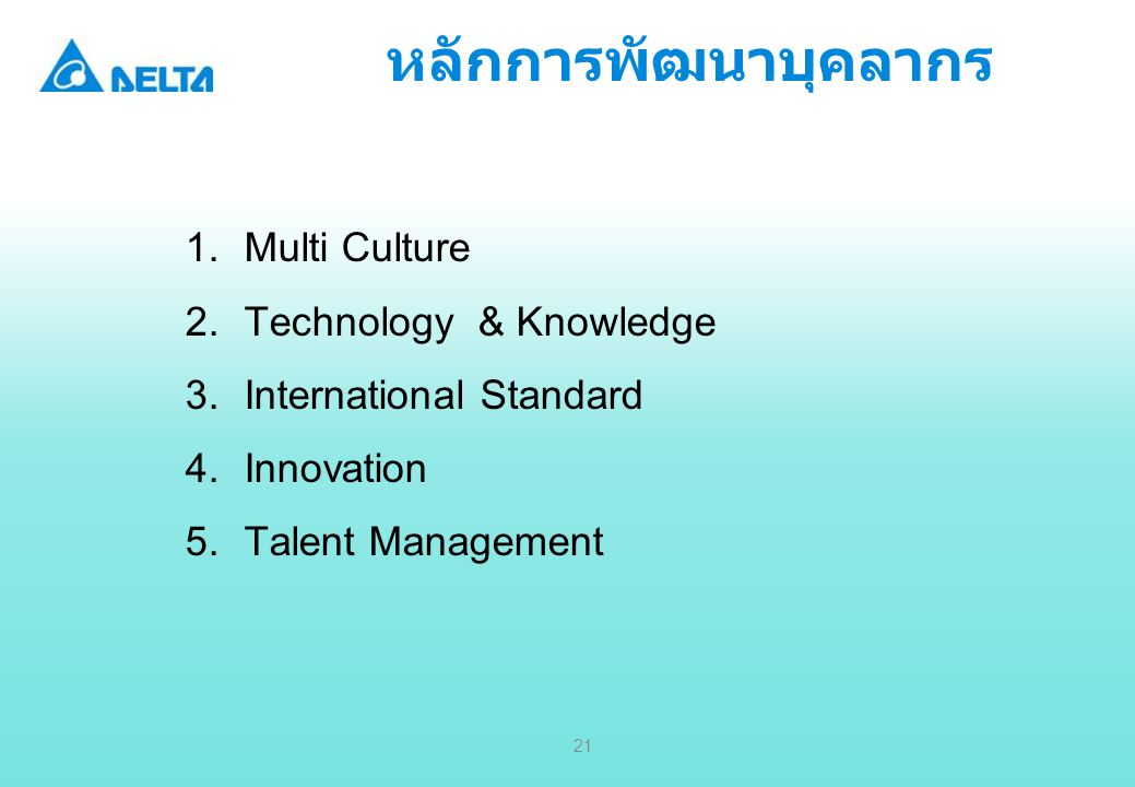 Delta Confidential 21 1.Multi Culture 2.Technology & Knowledge 3.International Standard 4.Innovation 5.Talent Management หลักการพัฒนาบุคลากร