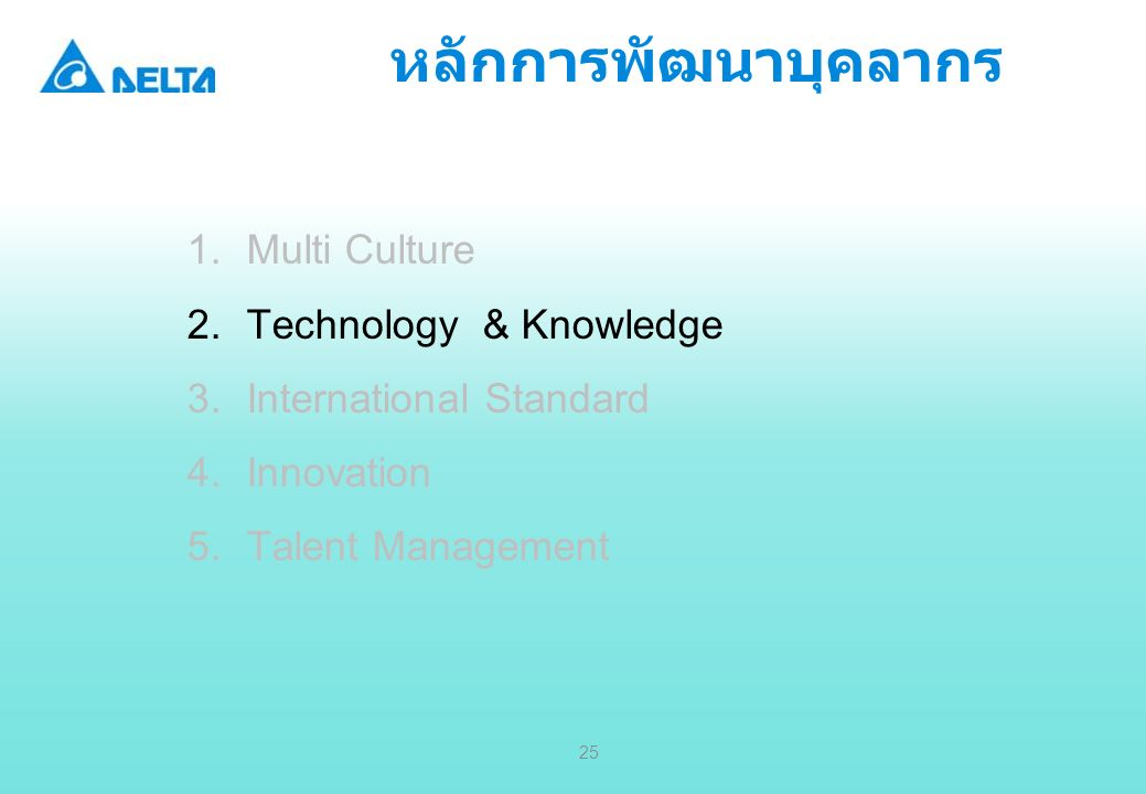 Delta Confidential 25 หลักการพัฒนาบุคลากร 1.Multi Culture 2.Technology & Knowledge 3.International Standard 4.Innovation 5.Talent Management