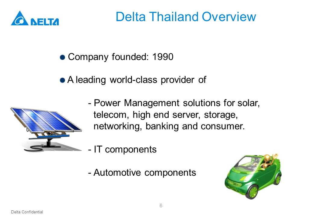 Delta Confidential Company founded: 1990 A leading world-class provider of - Power Management solutions for solar, telecom, high end server, storage,