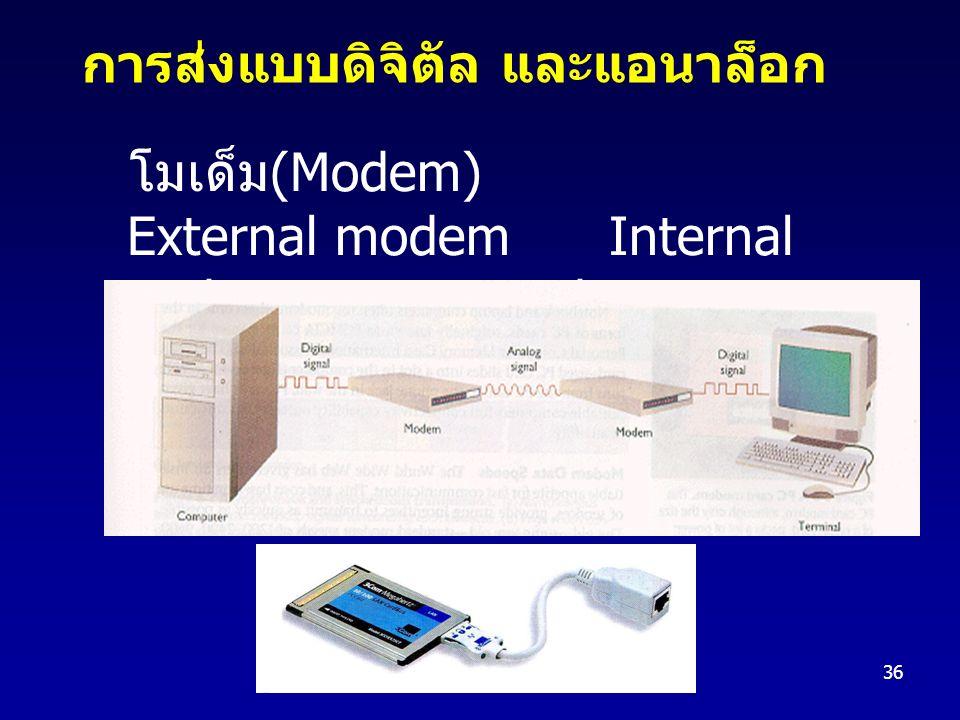 36 โมเด็ม (Modem) External modem Internal modem PC Card การส่งแบบดิจิตัล และแอนาล็อก