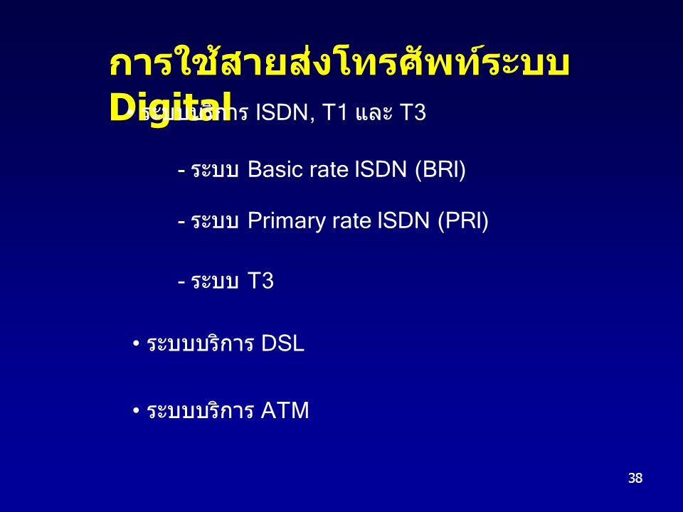 38 การใช้สายส่งโทรศัพท์ระบบ Digital ระบบบริการ ISDN, T1 และ T3 - ระบบ Basic rate ISDN (BRI) - ระบบ Primary rate ISDN (PRI) - ระบบ T3 ระบบบริการ DSL ระบบบริการ ATM