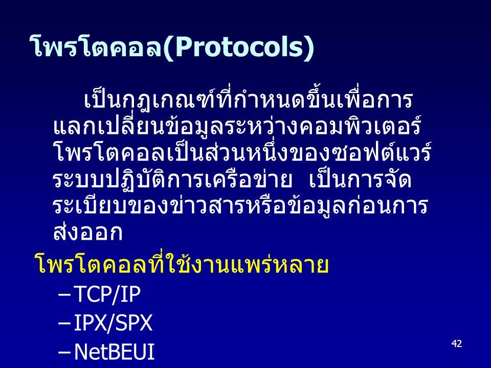 42 โพรโตคอล (Protocols) เป็นกฎเกณฑ์ที่กำหนดขึ้นเพื่อการ แลกเปลี่ยนข้อมูลระหว่างคอมพิวเตอร์ โพรโตคอลเป็นส่วนหนึ่งของซอฟต์แวร์ ระบบปฏิบัติการเครือข่าย เ