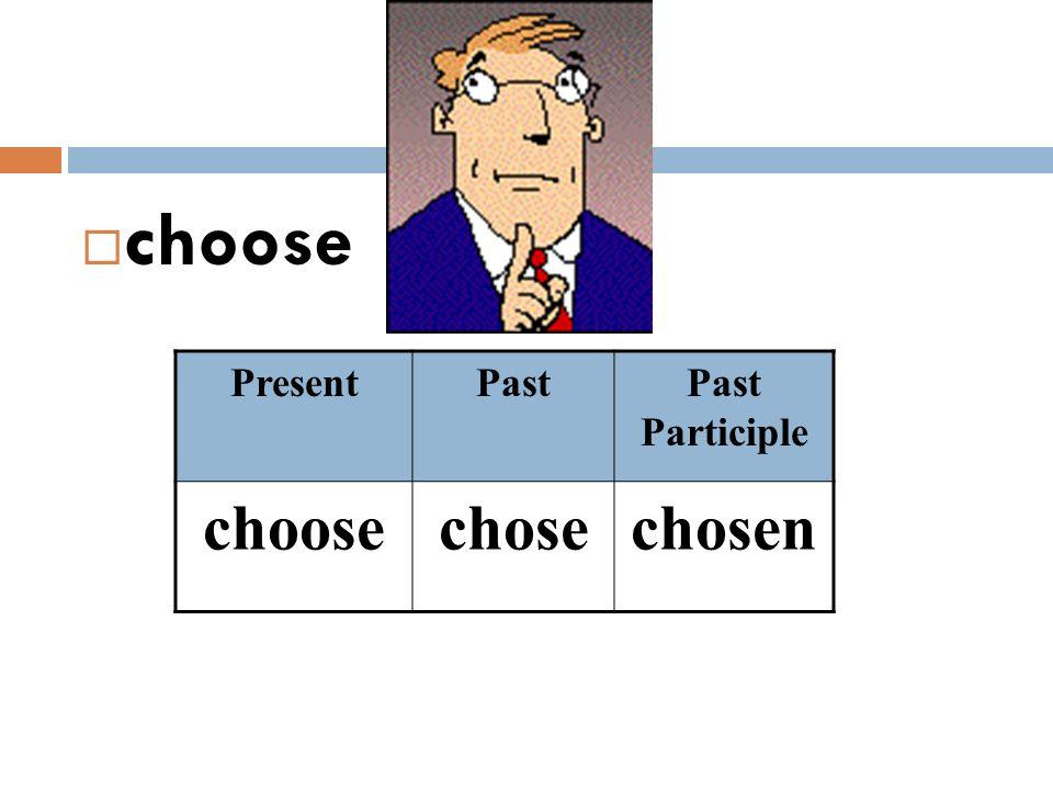  choose PresentPastPast Participle choosechosechosen